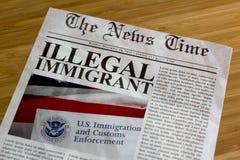Schlagzeile des illegalen Einwanderers Lizenzfreies Stockbild