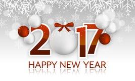 Schlagzeile oder Fahne des guten Rutsch ins Neue Jahr 2017 mit hängendem Flitter, Bogen, Schneeflocken, Schnee vektor abbildung