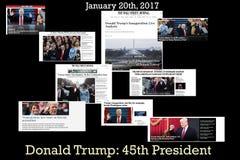 Schlagzeilen von Donald Trump- - Amerika-` s 45. Präsident Lizenzfreies Stockbild