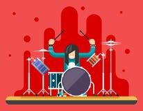 Schlagzeuger-Drum Icons Set-Hardrock-schweres Volksmusik-Hintergrund-Konzept-flache Design-Vektor-Illustration Stockfotos