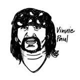 Schlagzeuger-Illustrations-Schwarzweiss-Zeichnung Vinnie Paul stock abbildung