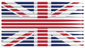 Schlagzeugerflagge Vereinigten Königreichs mit roter, weißer und blauer gestreifter Trommel haftet lokalisierte Vektorillustrat vektor abbildung