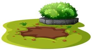 Schlamm-Teich im Garten stock abbildung