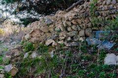 Schlammbacksteinmauer mit schwarzem Ziegeldach in der Waldfläche Stockbilder