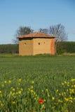 Schlammhütte auf dem Gebiet im Frühjahr Stockbilder