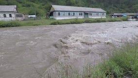 Schlammiger Wasserstrom im Flussbett während der Flut nach starkem Regen in den Sayan-Bergen im River Valley stock video footage