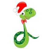 Schlange, die Weihnachten feiert. Abbildung Stockfotografie