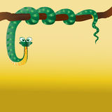 Schlange gekräuselt auf einem Baum Stockfoto