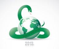 Schlange um Planet Erde lizenzfreie abbildung