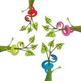 Schlange- und Baumzeichnungsvektor stock abbildung