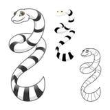 Schlangen-Zeichentrickfilm-Figur der hohen Qualität Seeumfassen flaches Design und Linie Art Version Stockbilder