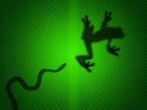 Schlangenangriff ein Baumfrosch Stockfotografie