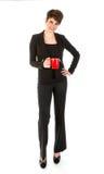 Schlanker Geschäftsfrauesprit ein Tasse Kaffee lizenzfreies stockbild