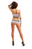 Schlankes Mädchen in der erotischen Kleidung von der Rückseite. Lizenzfreies Stockbild