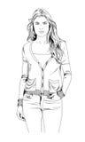 Schlankes sportliches Mädchen eigenhändig gezeichnet in Tinte Lizenzfreie Stockfotografie