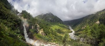 Rainbow at Schlatenkees Waterfall in the Alps Stock Image