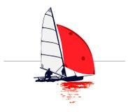 Schlauchboot mit roter Segel-Reflexion lizenzfreie abbildung