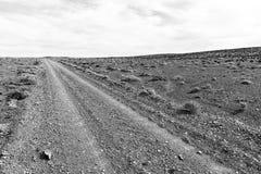 Schlecht gewölbte Schotterstraße im Tankwa-Karoo einfarbig lizenzfreie stockbilder