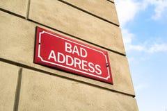 Schlechte Adresse Stockbilder