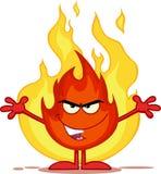 Schlechte Feuer-Zeichentrickfilm-Figur mit offenen Waffen in Front Of Flames Stockfotos