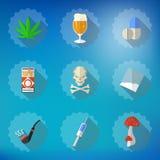 Schlechte Gewohnheits-flacher Vektor-Ikonen-Satz Schließen Sie Bier, Alkohol, Pillen, i mit ein Lizenzfreies Stockbild