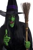 Schlechte Hexe und ihr Broomstick. Lizenzfreie Stockfotografie