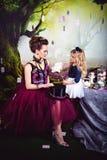 Schlechte Königin und Alice mit Weißrose stockbild