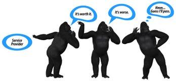 Schlechte Kommunikations-Fähigkeiten Gorilla Illustration stock abbildung