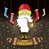Schlechte rockstar Rolle DJ Weihnachtsmann des Rocks n des Vektors stock abbildung