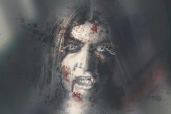 Schlechte tote Vampirsfrau, die im blutigen Fenster schaut Stockbilder