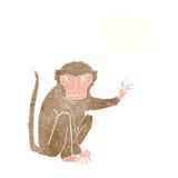 schlechter Affe der Karikatur mit Gedankenblase Stockbild