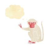 schlechter Affe der Karikatur mit Gedankenblase Lizenzfreies Stockfoto