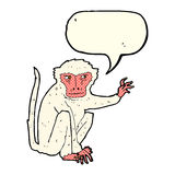 schlechter Affe der Karikatur mit Spracheblase Stockfoto