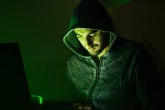 Schlechter Hacker, der online zu den Betrugsleuten versucht Lizenzfreie Stockfotografie