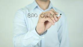 Schlechter Kredit? Wir können helfen! , Schreibend auf transparenten Schirm