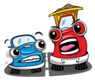 Schlechter LKW der Karikatur mit erschrockenem Auto auf der Straße Lizenzfreie Stockbilder