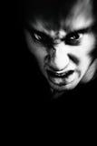 Schlechtes Gesicht des furchtsamen Mannes stockfoto