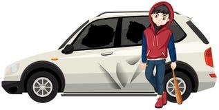 Schlechtes junges jugendlich brach das Auto stock abbildung