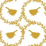 Schlehe und Vögel, ein Satz von drei goldenen nahtlosen Mustern und Grenze Vektorauf lagerabbildung Lizenzfreies Stockbild