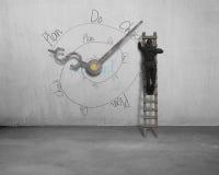 Schleife der Zeichnung PDCA mit den Uhrhänden auf Wand Lizenzfreies Stockfoto