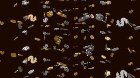 Schleife, realistischer goldener und silberner Dollarregen U S vom Himmel Wirtschaftler um riesigen Pfeil oben zeigend stock abbildung