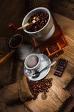 Schleifer und anderes Zubehör für den Kaffee Lizenzfreies Stockbild