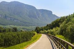 Schleifeweg des Adige-Tales Stockfotos