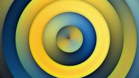 Schleifungshintergrund-Animations-blaue gelbe konzentrische Kreise stock footage
