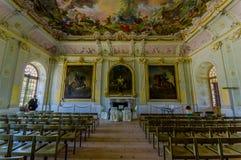 Schleissheim,德国- 2015年7月30日:里面主要宫殿大厦,有难以置信的绘画的,装饰房间 免版税图库摄影