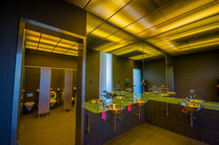 Schleissheim, Germany - July 30, 2015: Inside public restroom at palace building, very modern and nice design Stock Photography