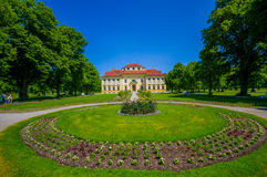 Schleissheim, Germany - July 30, 2015: Lustheim palace building, located on the other side of Schleissheim gardens Stock Images