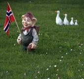 Schleppangel mit norwegischer Markierungsfahne Stockbild