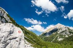 Schleppen Sie Flamme im herrlichen alpinen Tal an einem sonnigen Sommertag Stockfotos