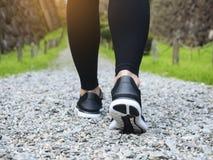 Schleppen Sie gehende Frauenbeine mit Sportschuh Trailt-Park im Freien lizenzfreies stockbild